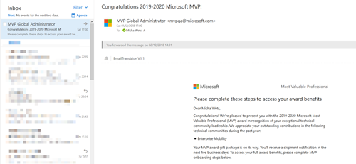 Honored to receive my first Microsoft MVP Award